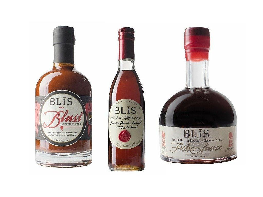 BliS Variety Pack (Pure Bourbon Maple Syrup [375ml] + Blast Hot Pepper Sauce [375 ml] + Fish Sauce [200ml]
