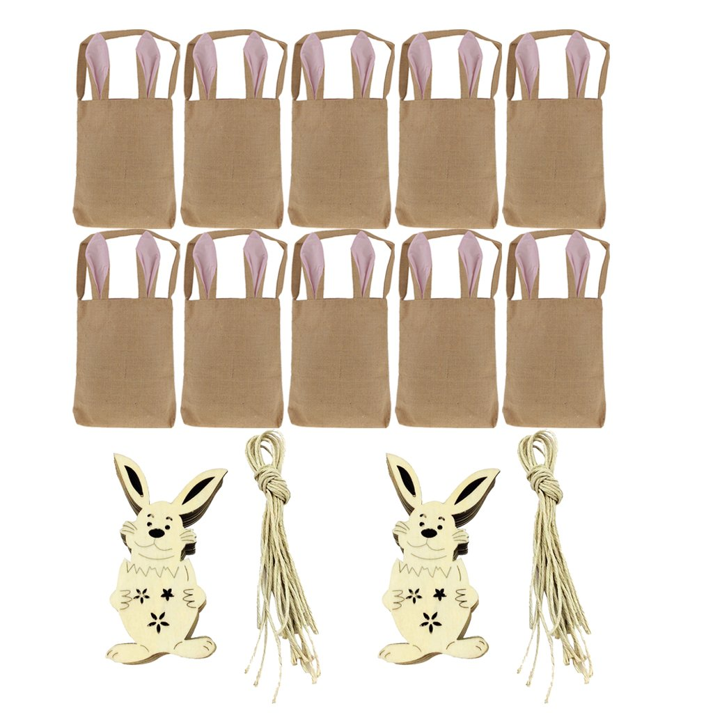 Homyl 30pcs/Set EASTER Bunny sTRING Hanging Tags Dual Bunny Ear Bag Party Supply