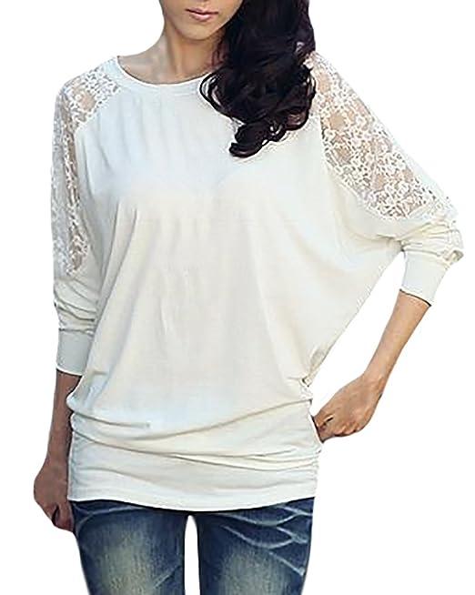 ... De Murciélago Fashionista Tops Fiesta Elegantes Suelto Otoño Primavera Blusas T-Shirt Cuello Redondo Mango Mujeres Camisas: Amazon.es: Ropa y accesorios