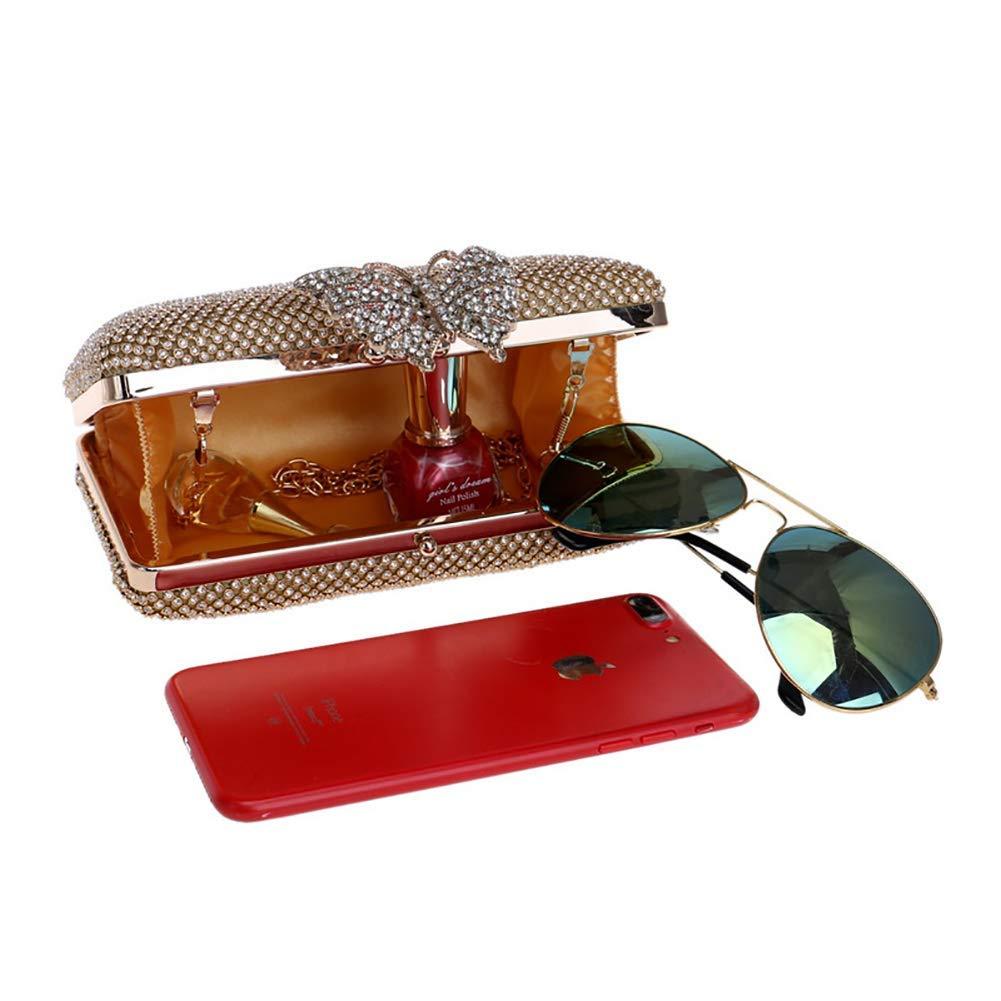 Frauen Handtasche Handtasche Handtasche Strass Kristall 3D Schmetterling Schulter Crossbody Taschen Karte Paket Dame Geldbörse Abend Handtasche für Frauen (Farbe   Gold, Größe   6.9X2.4X3.7INCH) B07PLT94V3 Clutches Eigenschaften 8e987c