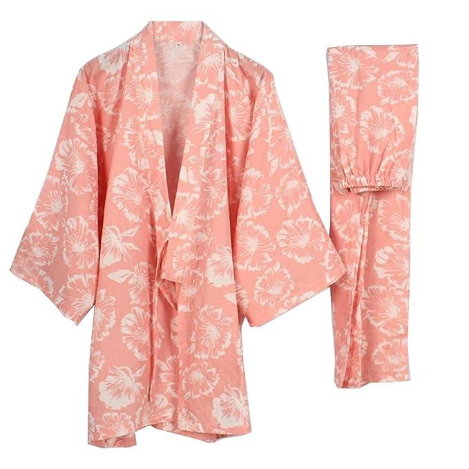 Trajes de Estilo japonés para Mujer Kimono Pijamas Traje Vestido Conjunto Hibiscus Rosa [Talla L