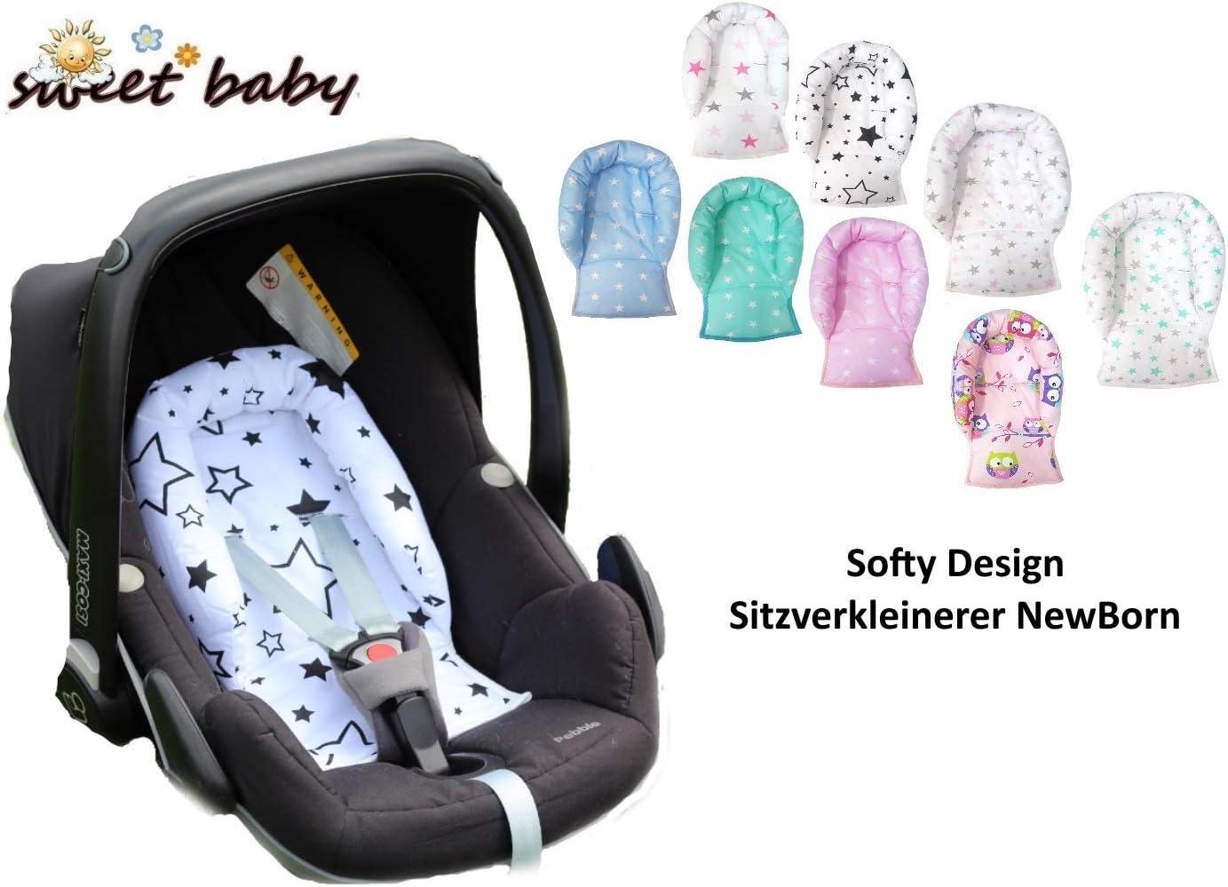 Sweet Baby ** SOFTY DESIGN ** R/éducteur universel pour si/ège auto Maxi Cosi bassinet poussette et autre Black White Stars