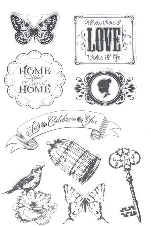 Homeford Silicone Clear Stamps Home Sweet Home, 9-Piece