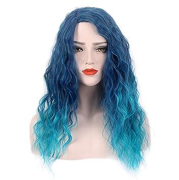 Peluca De Halloween Azul Degradado Pelo Largo Y Rizado Pelucas Delanteras De Encaje Recto Natural para
