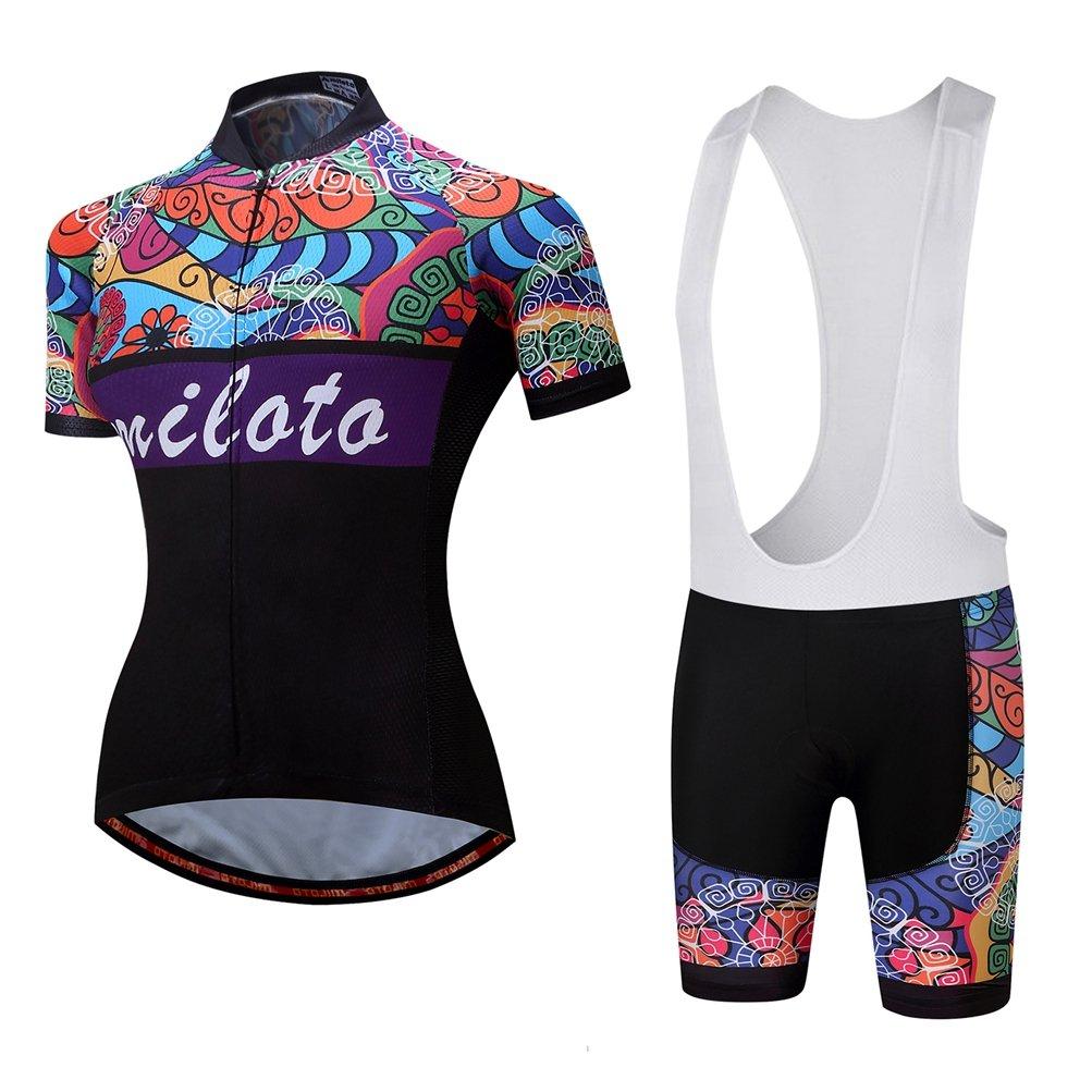 Uriah Women 's Cycling Jersey Bib Shortsホワイトセット半袖Reflective B06Y4JNZNW Medium|Retro Paint Retro Paint Medium