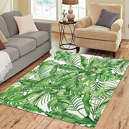 Semtomn Area Rug 5' X 7' Watercolor Painting Coconut Banana Palm Leaf Green Leave Tropical Home Decor Collection Floor Rugs Carpet for Living Room Bedroom Dining Room