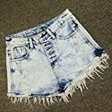 YFF Snowflake High Waist Denim shorts The singles buckle hole rough Flash pants,L
