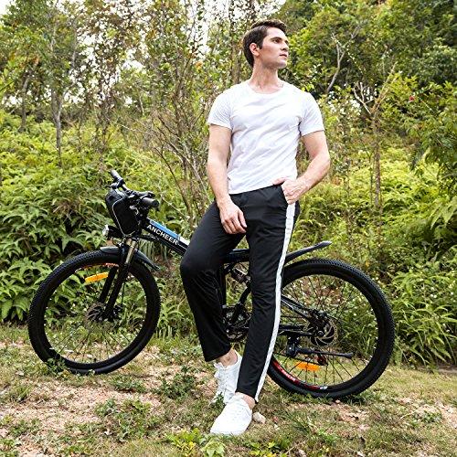 26' Womens Cruiser Bike (Foldable 26'' Electric Mountain Bike, Lithium-Ion Battery (36V 250W), Premium Full Suspension (Black))