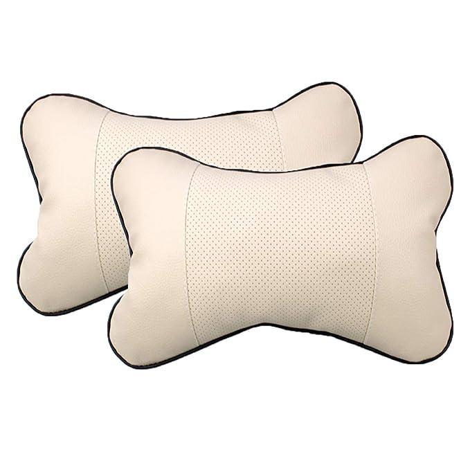 AutoSunShine 2 Pcs Genuine Leather Bone-shape Car Seat Neck Rest Headrest Comfortable Pillow Cushion Beige