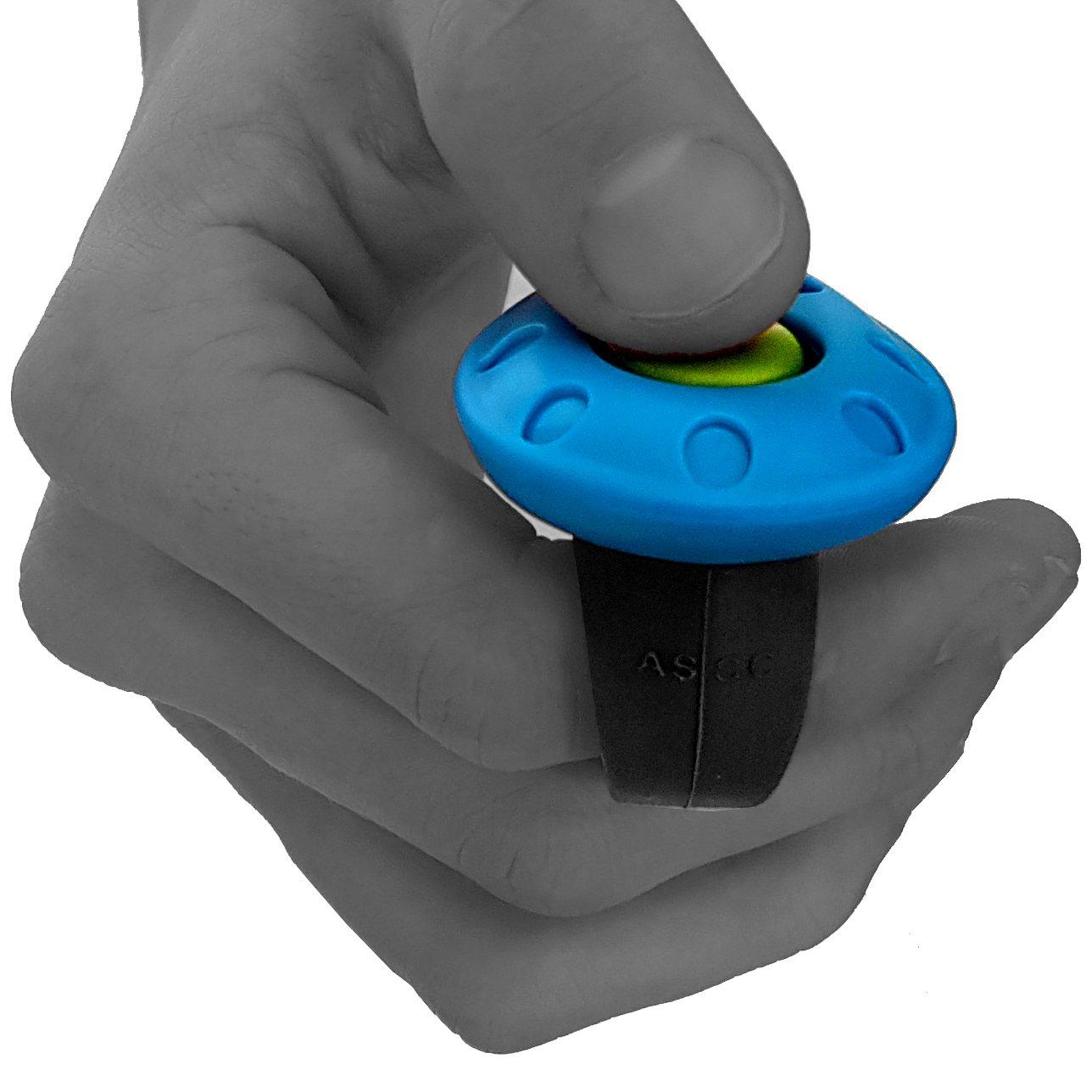 blue AC04F2X Ergonomic Quality Training Clicker ASCO 2x Premium Clicker PET Dog Puppy Cat Horse Finger Clicker Pack of 2