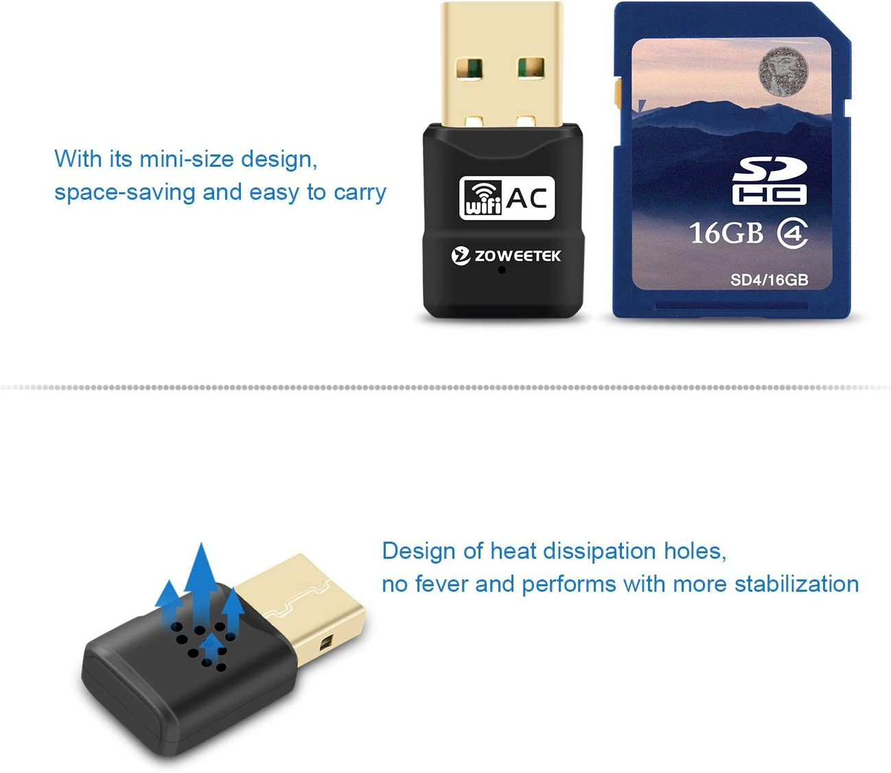 for Windows XP//7//8//10 and Mac OS X 10.6-10.12 802.11ac Wireless Network Dongle with Dual Band 2.4GHz Zoweetek 600Mbps WiFi USB Adapter //5GHz 150Mbps 433Mbps