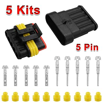 5pcs 2//3//4 Supersealed Electrical Wire Connector Kit Waterproof Motorbikes Cars