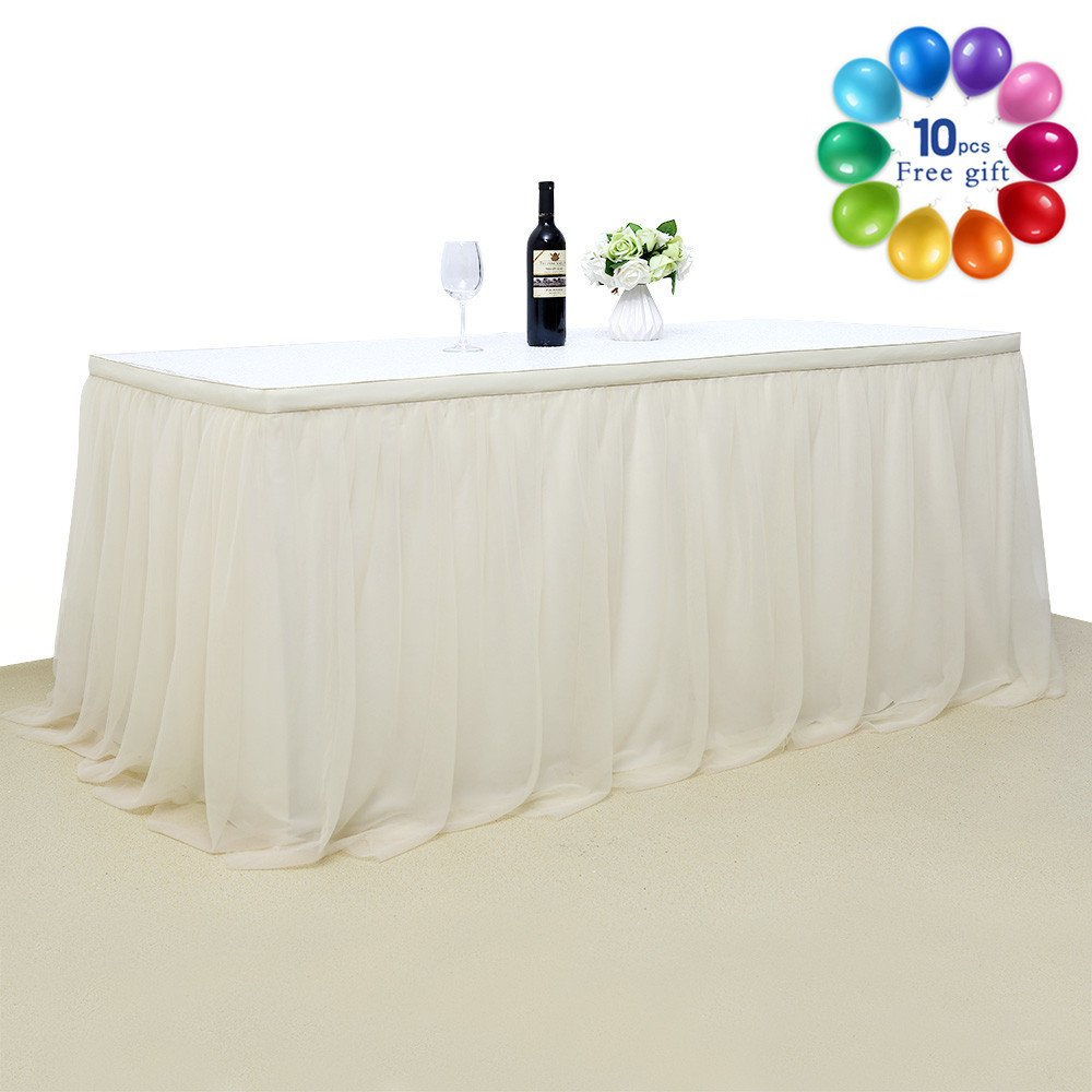 B-COOL High Class Fluffy Tutu Table Skirt Ivory Tablecloth Skirting Tulle Tableware For Wedding Banquet Festival Birthday Party Home Decor 3 Yards