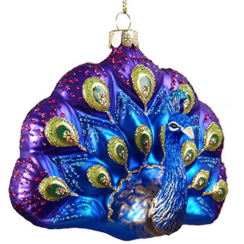 Glittered Glass Peacock Ornament (A) Purple Blue by Kurt Adler