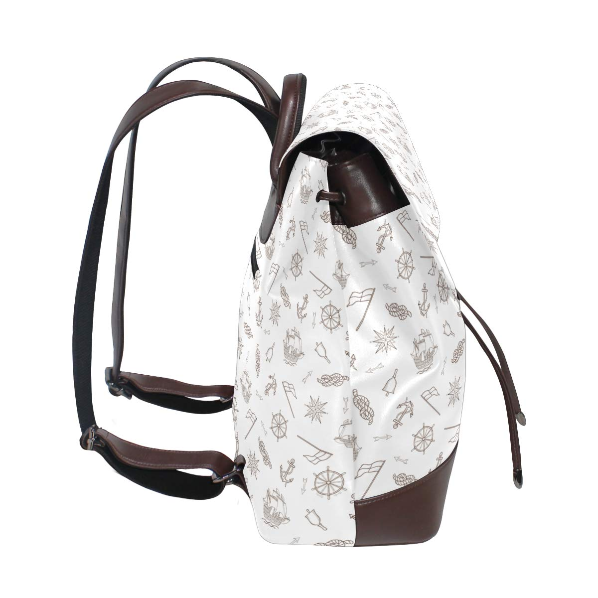 Leather Sailor Anchor And Sea Aailboat Shape Backpack Daypack Elegant Ladies Travel Bag Women Men
