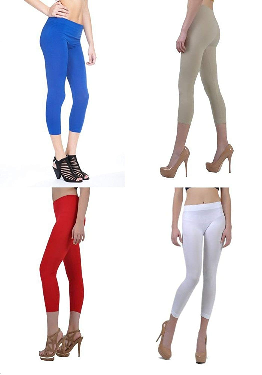 982362dd2c858 The Bundle comes with 4 packs of Legging in color: Royal Blue/Khpki/Red/ White (One color each) 92% Nylon, 8% Spandex. Made with a very soft,  Form-Fitting, ...