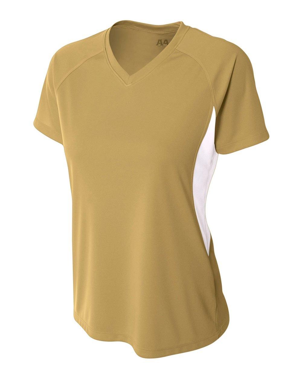 Women 's Athletic Moisture Wicking Vネック2色パフォーマンスシャツ/ Uniform (すべてのスポーツ:サッカー、ソフトボール、バレーボール。。。) B00SW5DDC2 Medium Vegas Gold (White Contrast Side Block) Vegas Gold (White Contrast Side Block) Medium