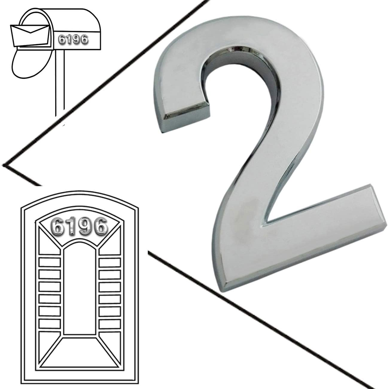 3D Mailbox Numbers, 2 Pcs Floating Appearance Door House Numbers, Self Adhesive Metal Silver Number, Street Address Plaques Numbers for Outdoor, Residence and Mailbox