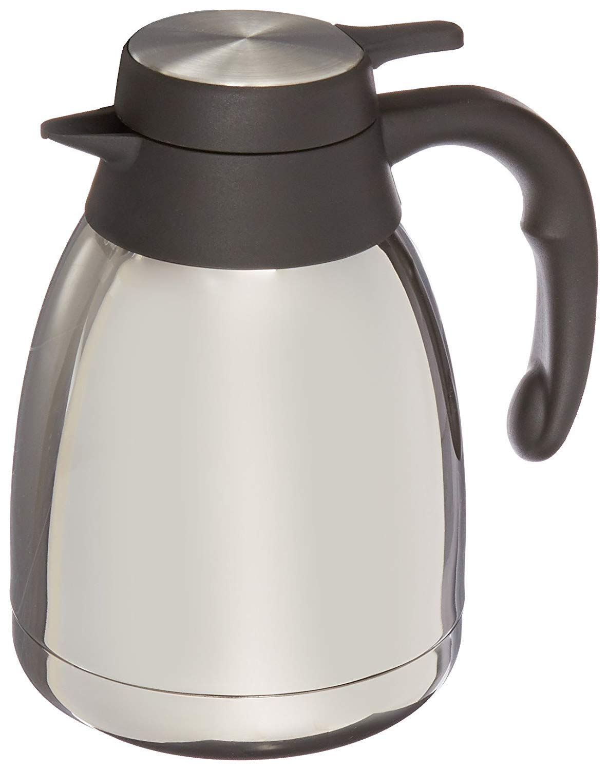 Genuine Joe GJO11952 Stainless Steel, Mirror-Finish Classic Vacuum-Insulated Carafe with Thumb Lever Lid, 1.2L Capacity, Steel/Gray (2-Units) by Genuine Joe