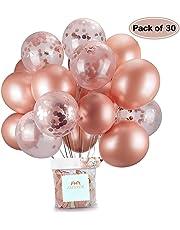 Or Rose Confettis Ballons Fête Ballon 30,5 cm pour Mariage, Anniversaire, Baby Shower, Diplôme, Cérémonie Décorations de Fête (30 Pièces)