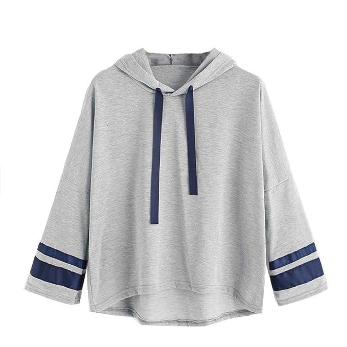 Camiseta Deportiva de Manga Larga para Mujer, con Estampado de Rayas Sudadera con Capucha y Estampado SunGren Blusa Tops: Amazon.es: Ropa y accesorios