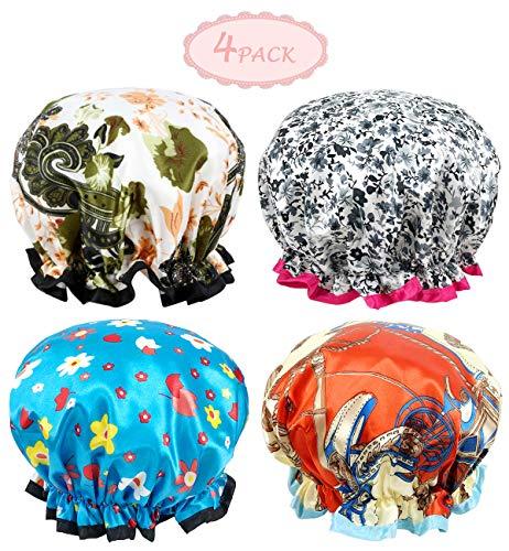 Shower Cap - 4 Pack Women Bath Cap Waterproof Double Layer Print Shower Hat Long Hair Salon Spa Bathing Accessories For Kids Girls Women