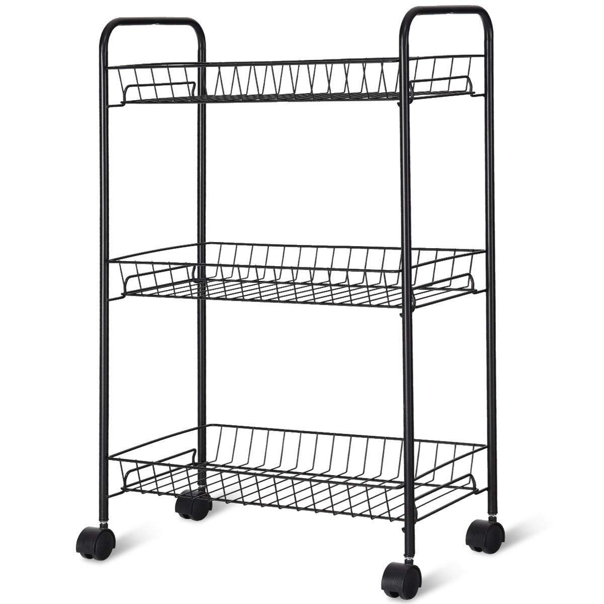 MRT SUPPLY 3 Tier Rolling Kitchen Utility Trolley with Storage Shelf Baskets with Ebook