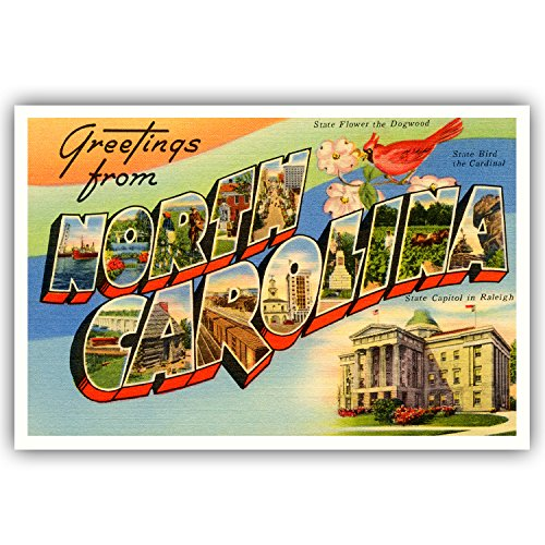 GREETINGS FROM NORTH CAROLINA vintage reprint postcard set of 20 identical postcards. Large letter US state name post card pack (ca. 1930's-1940's). Made in USA.