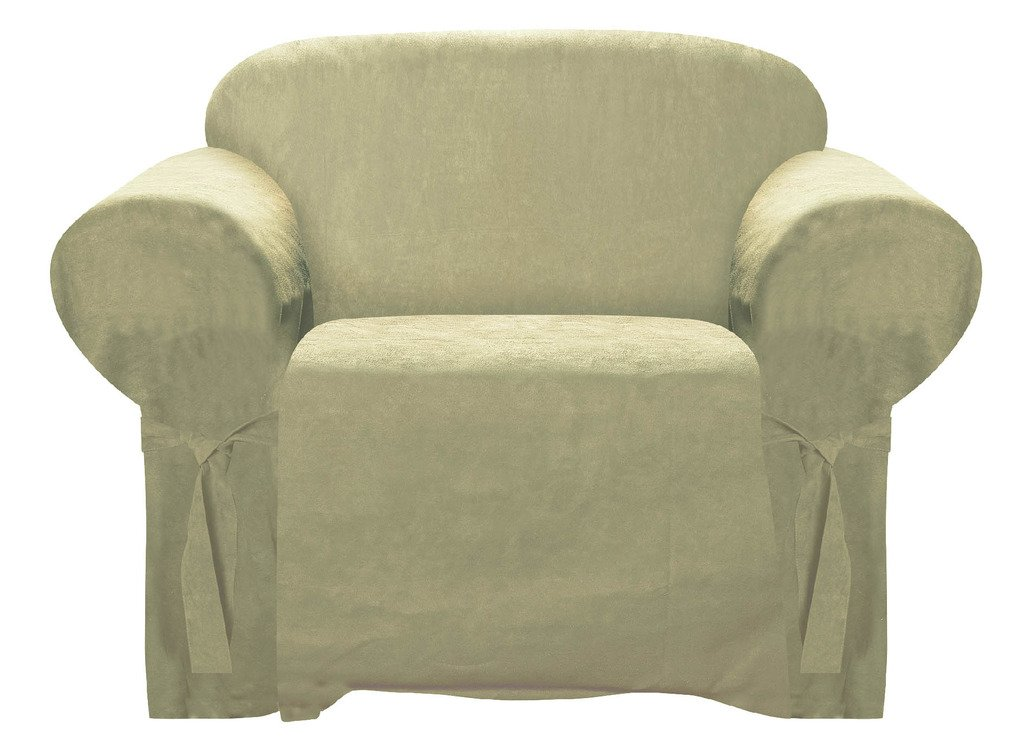 Armchair Slipcover Black Color Soft Micro Suede with Elastic Band Under Seat Cushion Chair Furniture Cover BHB International Inc. BH001-CC