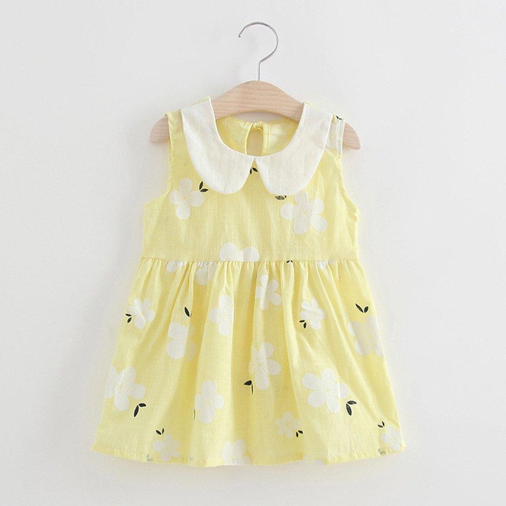 erthome Kinder Baby M/ädchen Sommer Prinzessin Kleid Hochzeit /Ärmellos Kleider