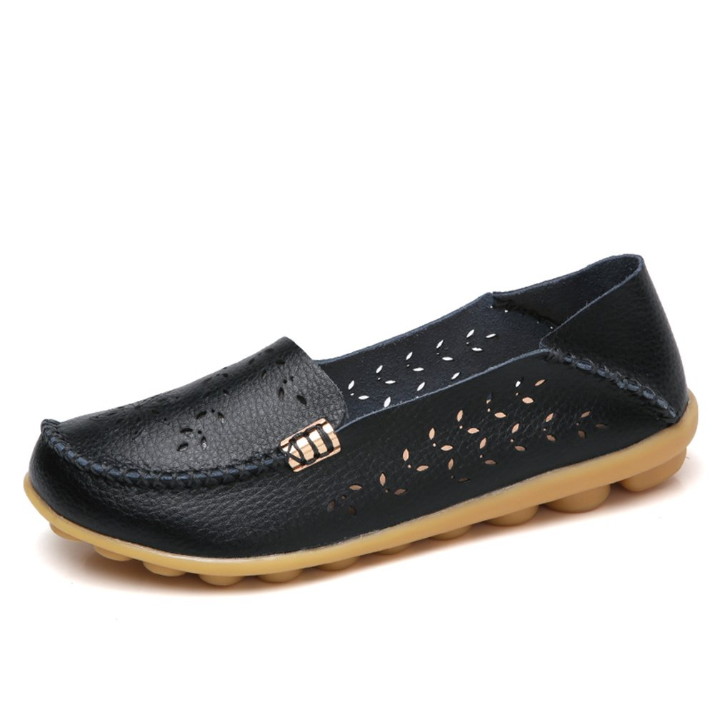 NineCiFun Womens Casual Flats Hollow Out Leather Slip On Driving Loafers(9 B(M) US,Black)
