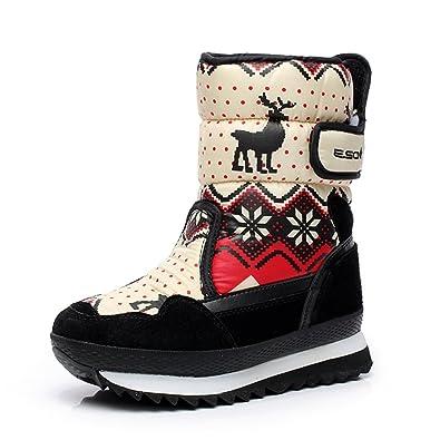 Winter Ankle Boots Quilted Faux Fur Lining Waterproof Cartoon Elk Snowflake Warm Short Booties