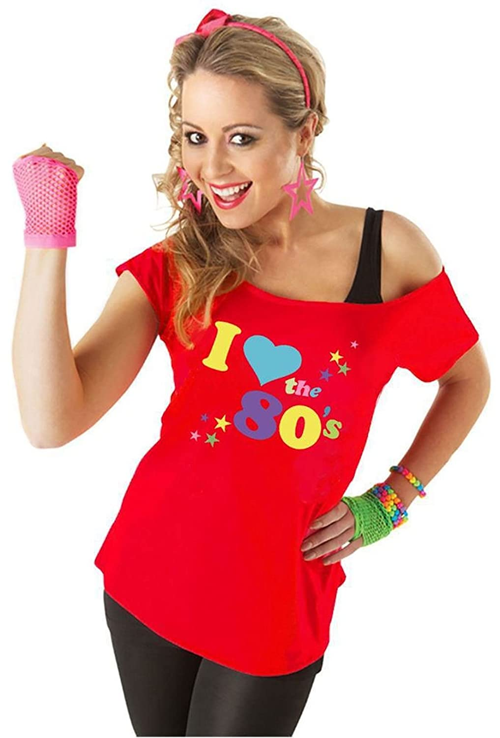 40a7060be3f41 RIDDLED WITH STYLE Womens I Love The 80s T Shirt   (RedI Love The 80s Tshirt   UK 10-12)  Amazon.ca  Clothing   Accessories