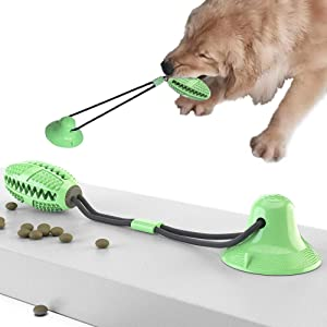 wu Pet Chewing Ball with Suction cupDog Toy Ball Silicone Pull Trainer Dog Food Dispenser Educational pet Toy Teeth Cleaning Toy