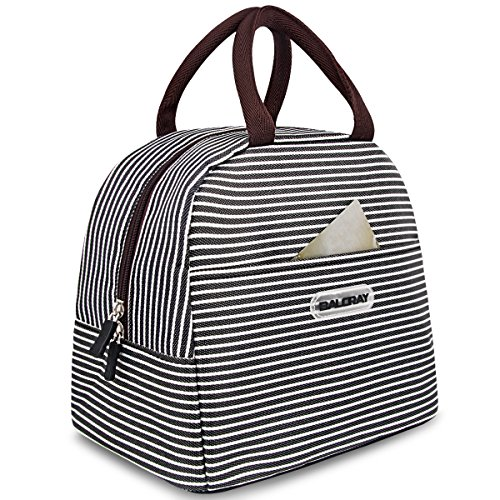 BALORAY Lunch Bag Tote Bag Lunch Organizer Lunch Holder Lunch Container (Brown White Stripes) (Lunch Box)