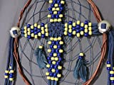 CrossCatcher (CC02) – A beaded leather lacework Cross encircled in a twisted willow branch, dream catcher