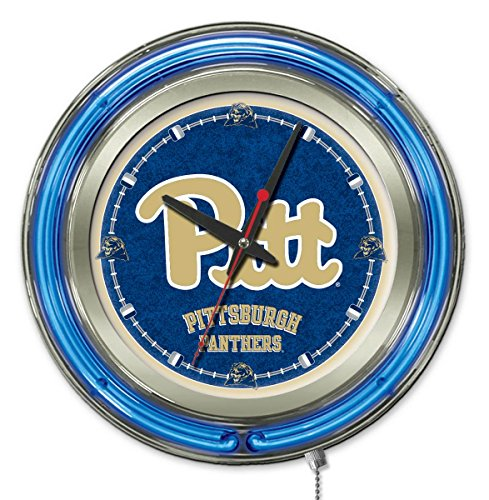 Holland Bar Stool Co. NCAA Pittsburgh Panthers Double Neon Ring 15-Inch Diameter Logo Clock ()