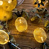 Patty Both 10-Light 5Ft Gold Metal Mesh Pineapple LED Lantern String Lights Battery Powered Novelty Fairy Lights