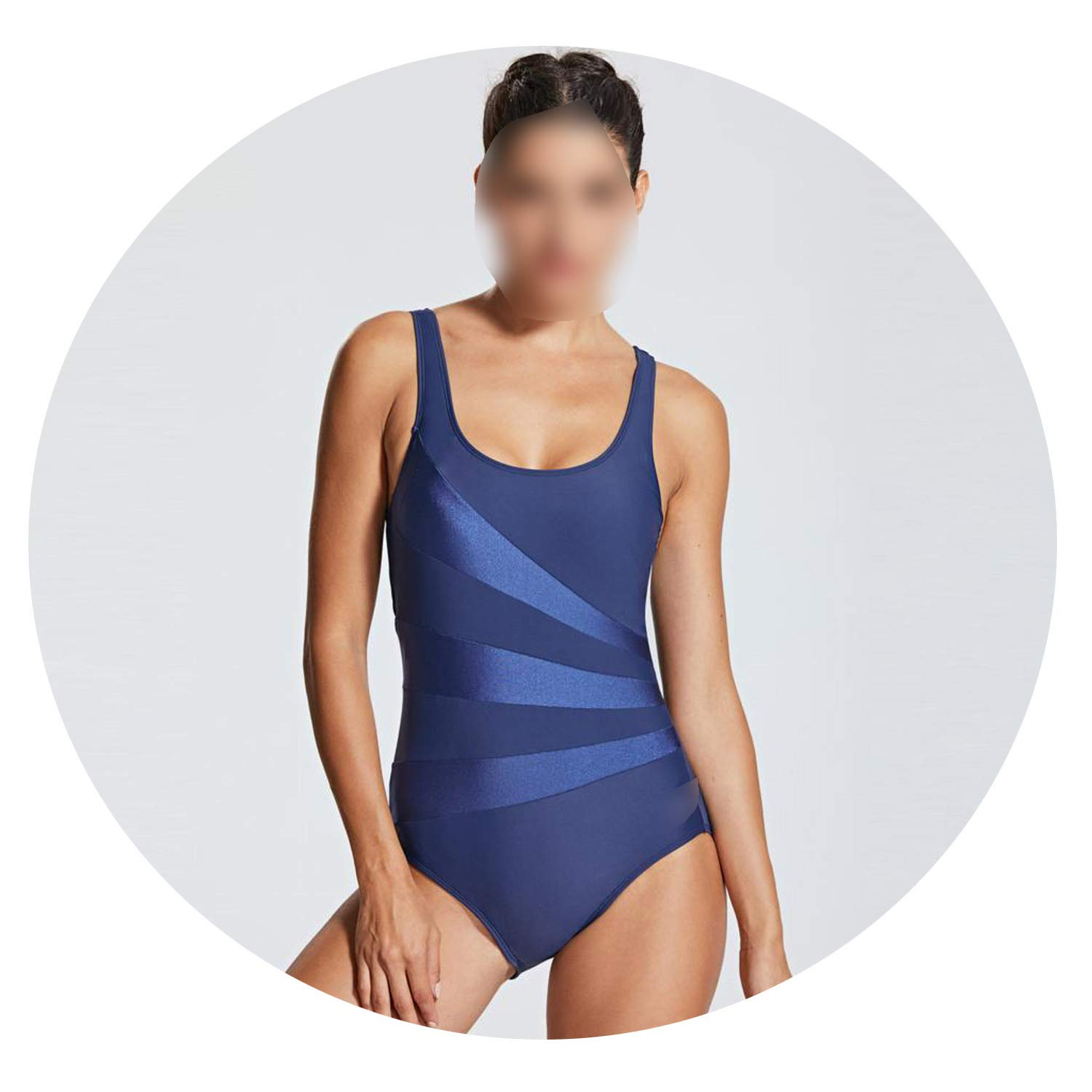 People Like Me 2019 New Womens Striped Athletic Training Conservative One Piece Swimsuit Ladies Swimwear,Navy02,40