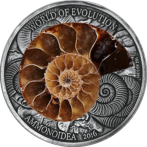 2016 BF World Of Evolution AMMONITE 1 Oz Silver Coin 1000 Francs Burkina Faso 2016 Antique Finish