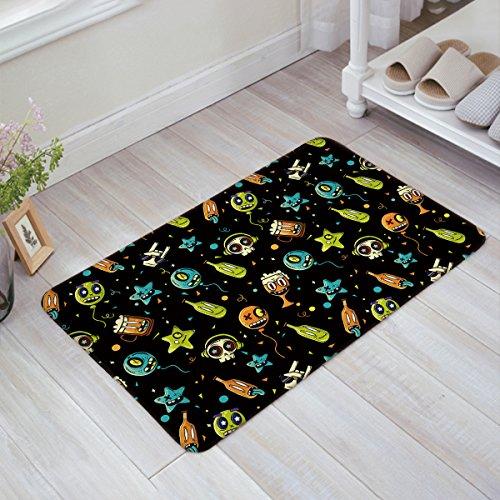 Olivefox Funny Doormat Home Decor Welcome Large Mat Entrance Way Indoor/Bathroom/Kitchen Carpet Toilet Floor Area Rugs, Funny Halloween Cartoon Skull And Beer - 31.5x20 Inch