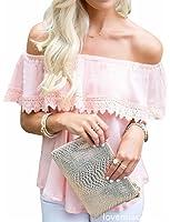71fe348eb210f7 Jaycargogo Womens Hem Stitching Lace Long-sleeved T-shirt at Amazon ...