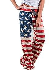 Women Pants Neartime Print Loose Casual Pants American Flag Drawstring Wide Leggings