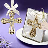 96 Majestic Gold Cross Ornament Religious Favors