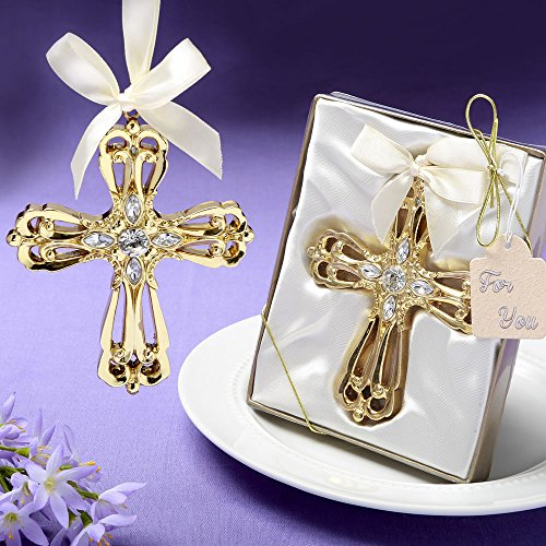 96 Majestic Gold Cross Ornament Religious Favors by Fashioncraft