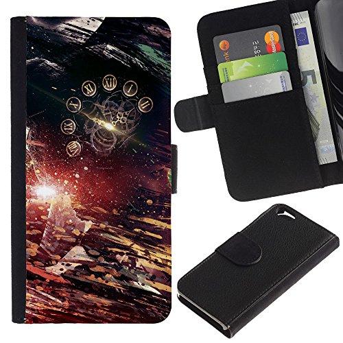 Funny Phone Case // Cuir Portefeuille Housse de protection Étui Leather Wallet Protective Case pour Apple Iphone 6 / Résumé Temps /