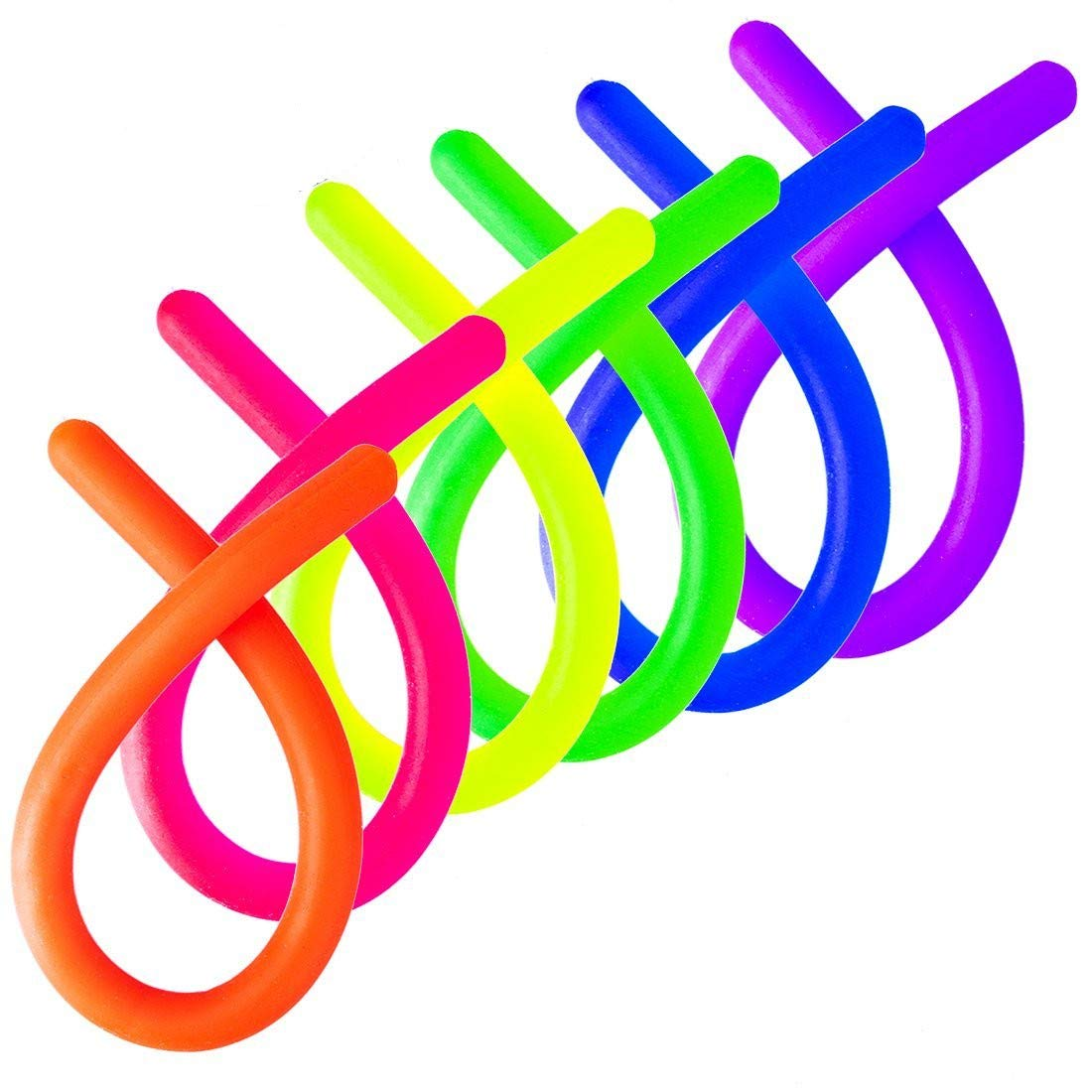 HMILYDYK Sensory Fidget Bright Color String Toy for Kids Adults Reduce Stress and Anxiety for ADHD ADD OCD Autism Gift 12PCS GUSTRIP-12PCS