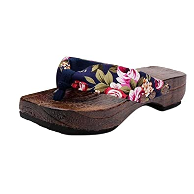 bee98ca8f8c19c Halijack Women s Summer Sandals Boho Flower Clip Toe Sandals Fashion Clog  Wooden Slippers Lovely Footwear Flip