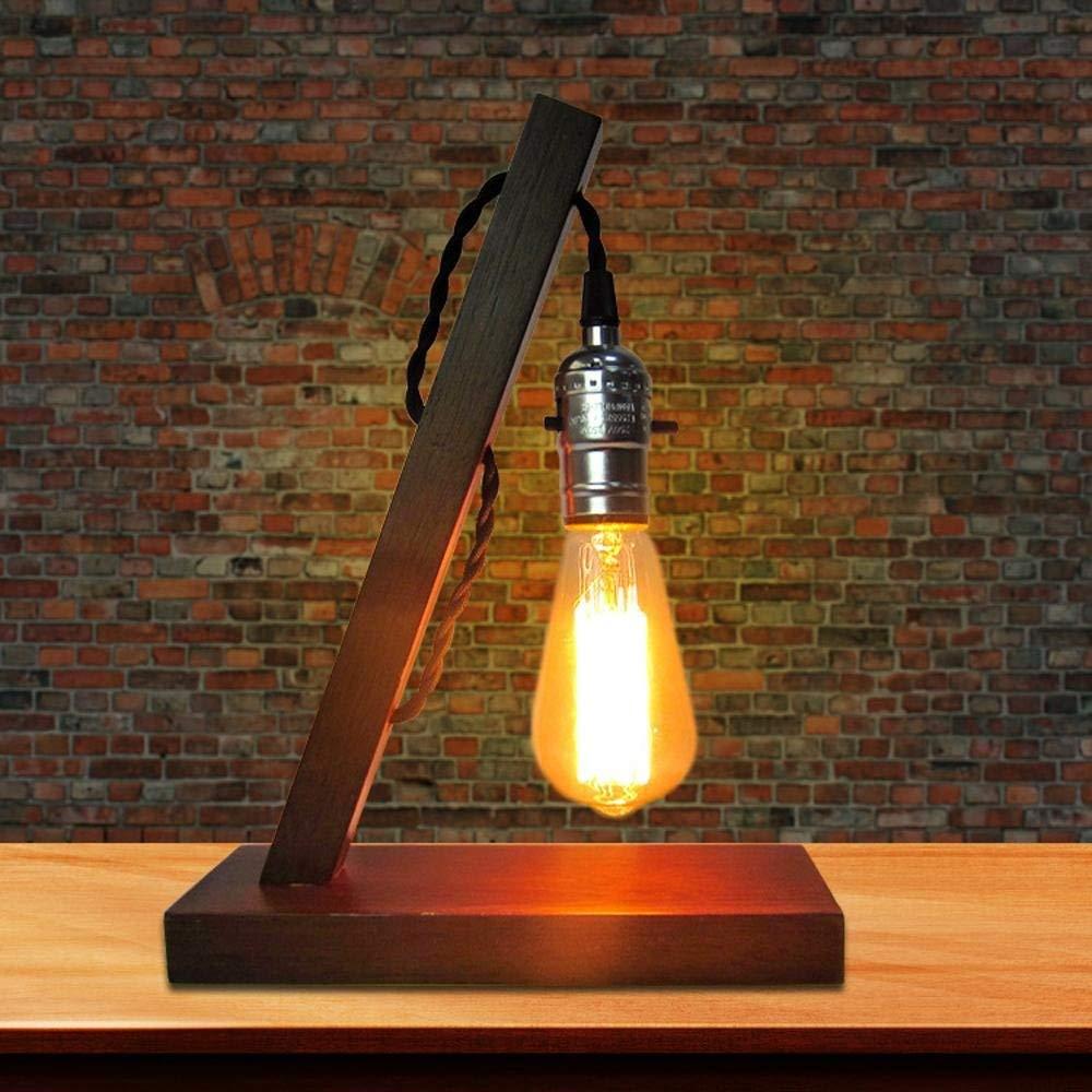 Irinay Creative Industrial Classic Vintage Led Schreibtischlampe Mit Fester Rubberwood Halterung Dekoration Dekoration Schlafzimmer Studium (Farbe   Colour-Größe)