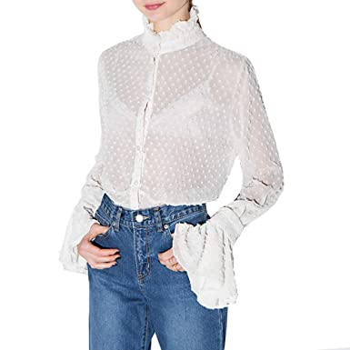 dbbe8a48 IRISIE Women Flare Long Sleeve Stand Collar Button Down Sheer Lace Top  Blouse(S,